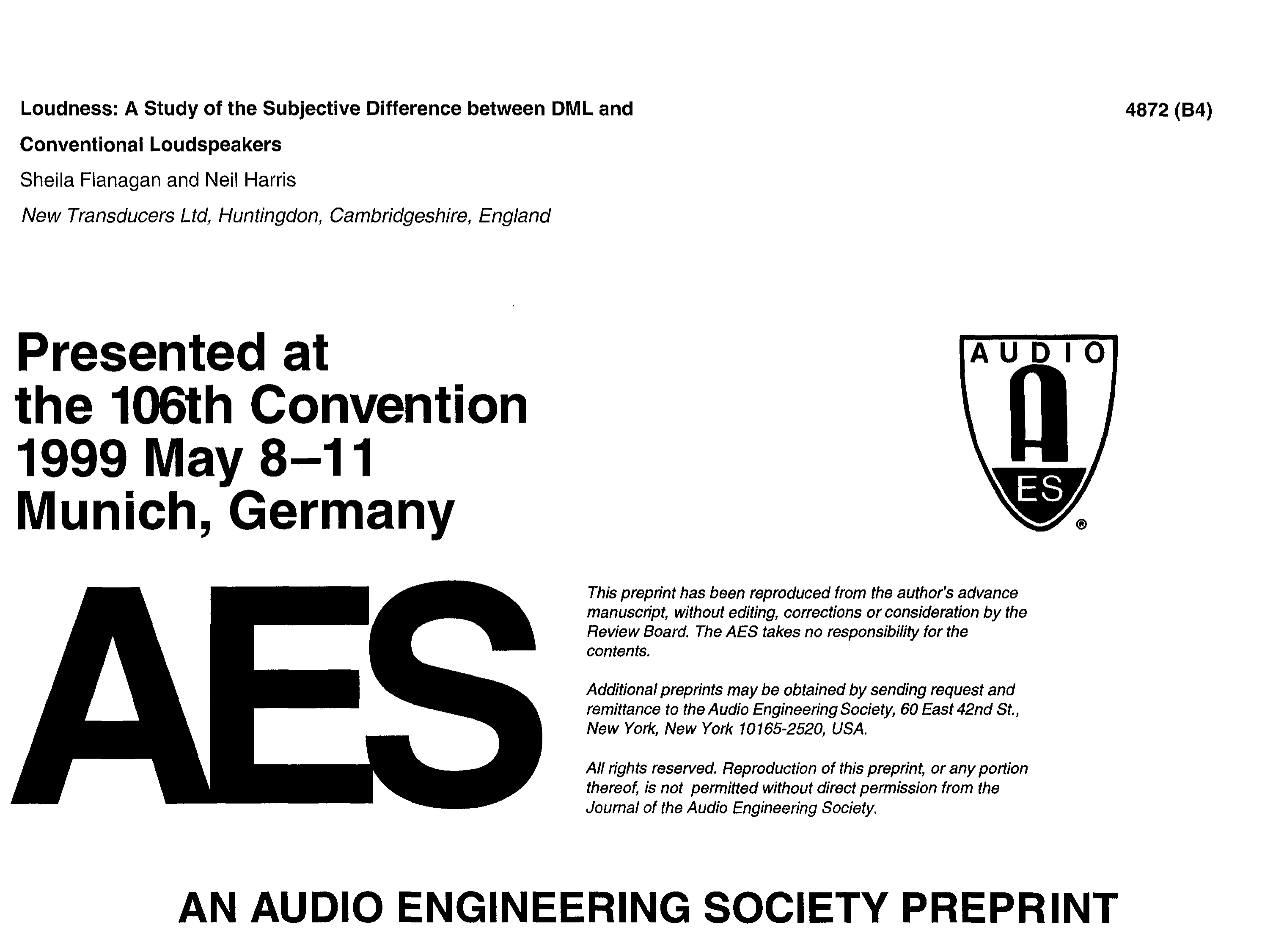 AES E-Library » Loudness: A Study of the Subjective Difference