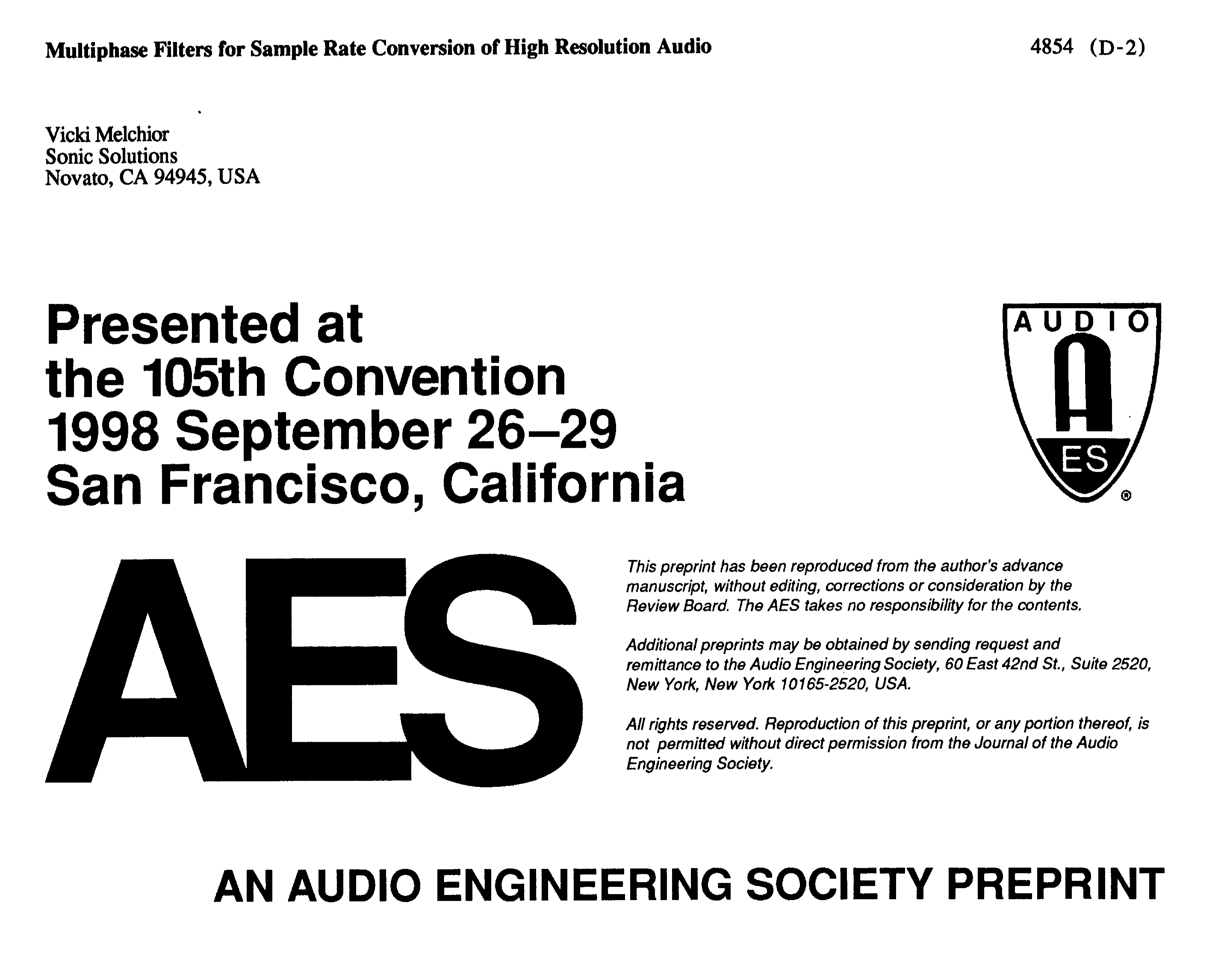 AES E-Library » Multiphase Filters for Sample Rate