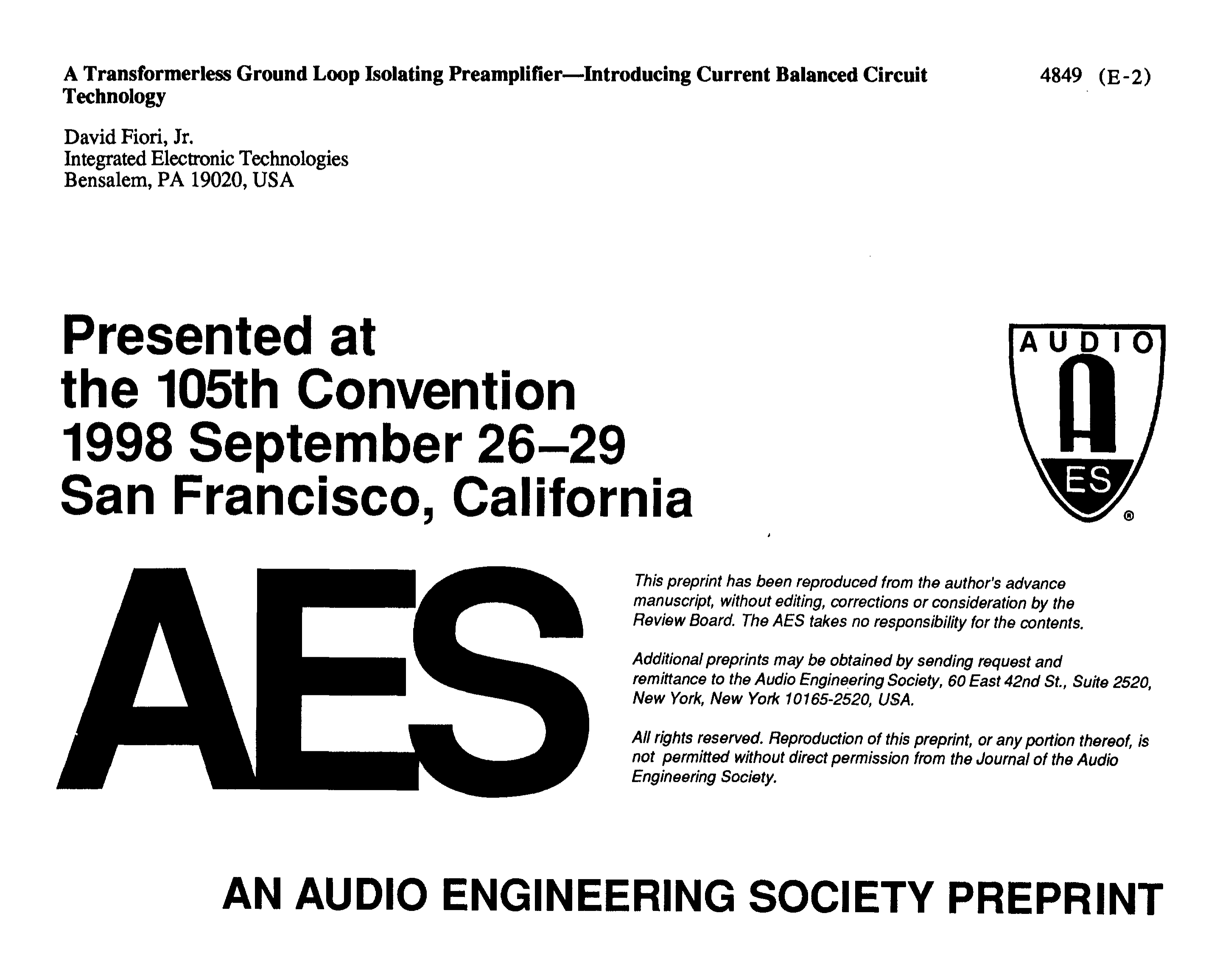 Aes E Library A Transformerless Ground Loop Isolating Preamplifier Electronic Circuit Projects High Current Power Supply Introducing Balanced Technology