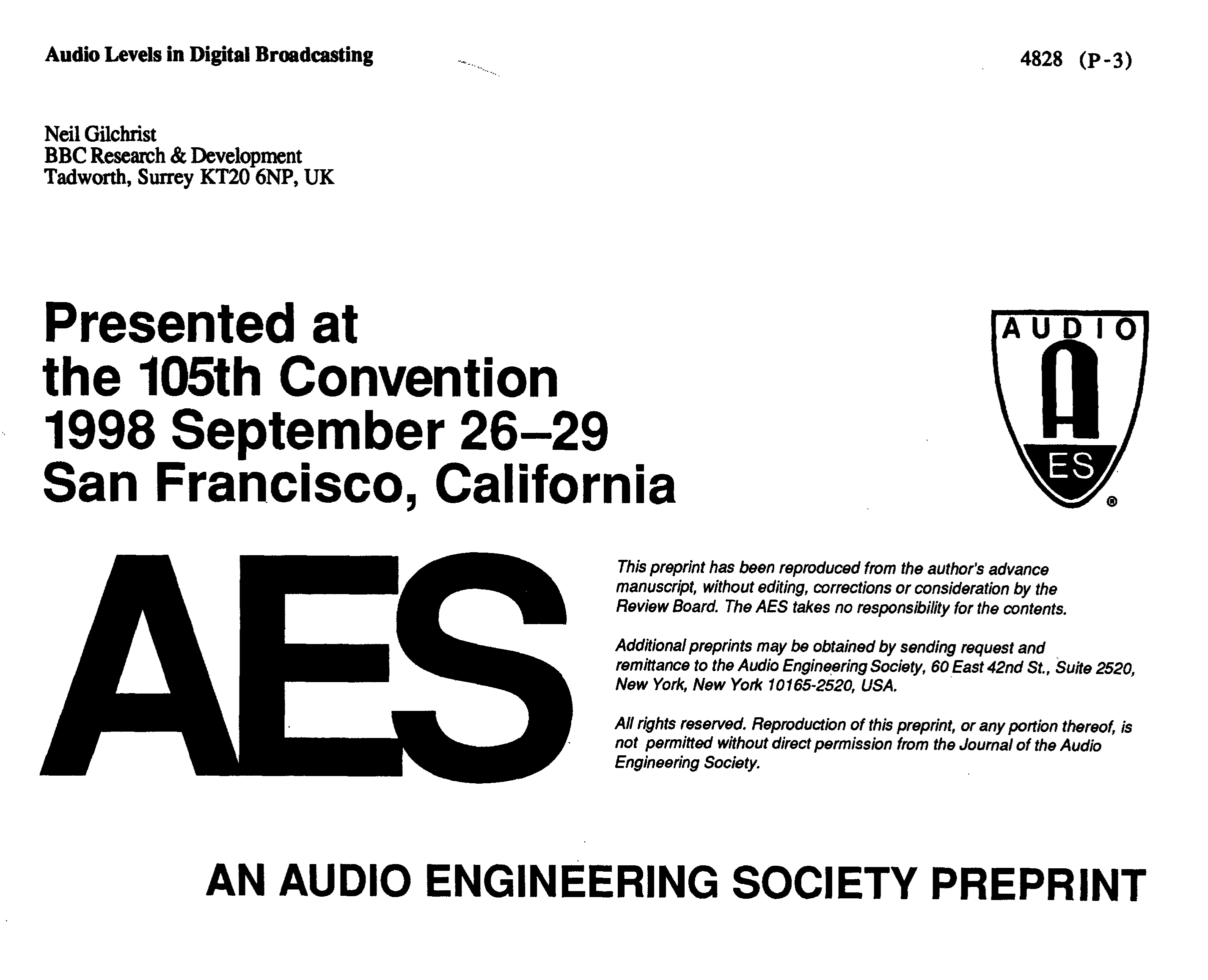 Aes E Library Audio Levels In Digital Broadcasting China Fm Receiver Circuit Board Assembly Production