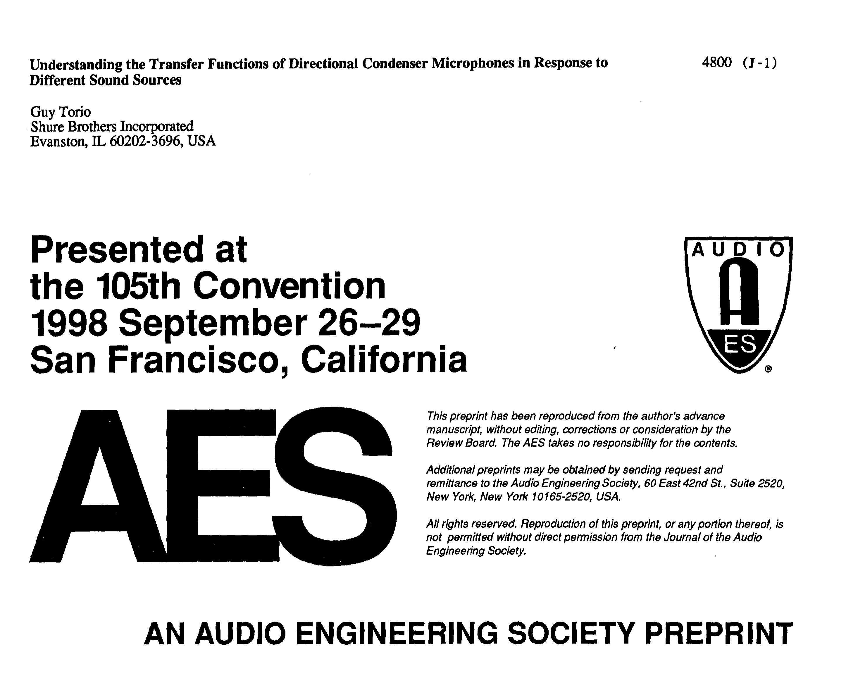 Aes E Library Understanding The Transfer Functions Of Directional Audio System Wiring Diagram Additionally Condenser Microphone Circuit Microphones In Response To Different Sound Sources