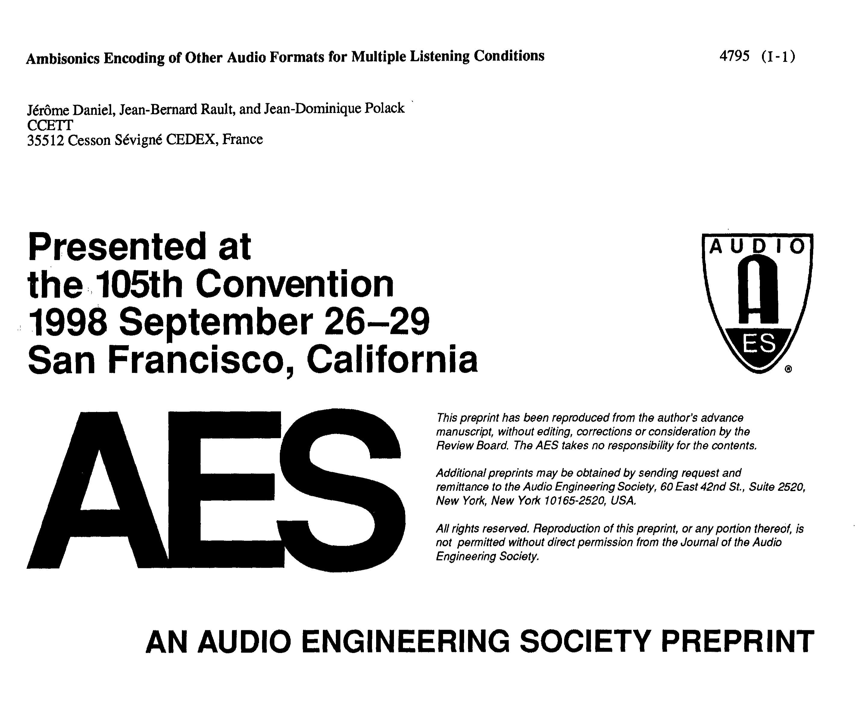 AES E-Library » Ambisonics Encoding of Other Audio Formats for Multiple  Listening Conditions