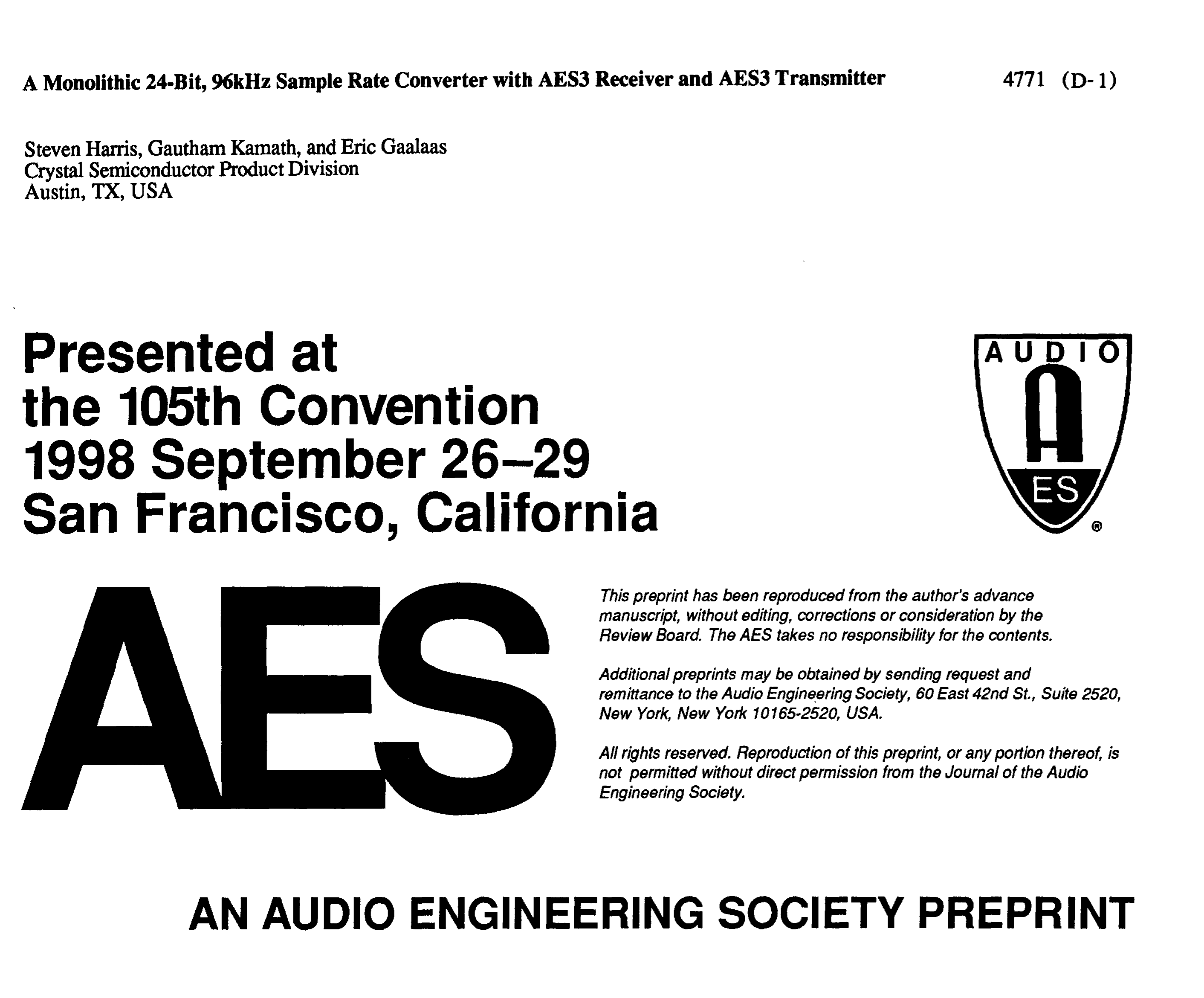 Aes E Library A Monolithic 24 Bit 96 Khz Sample Rate Converter