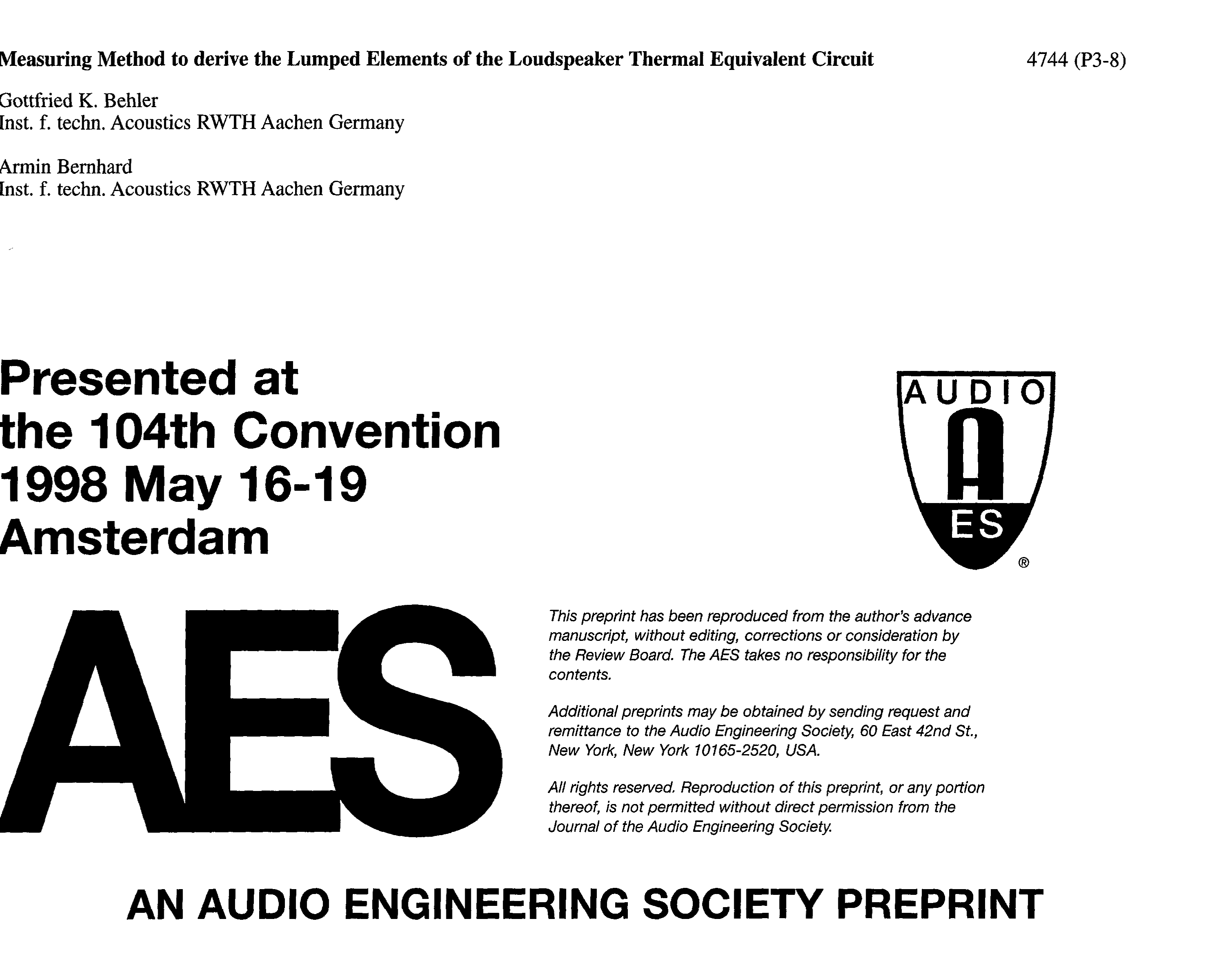 Aes E Library Measuring Method To Derive The Lumped Elements Of Circuit Compact Without Generating Heat As Capacitor C1 Dissipates Loudspeaker Thermal Equivalent