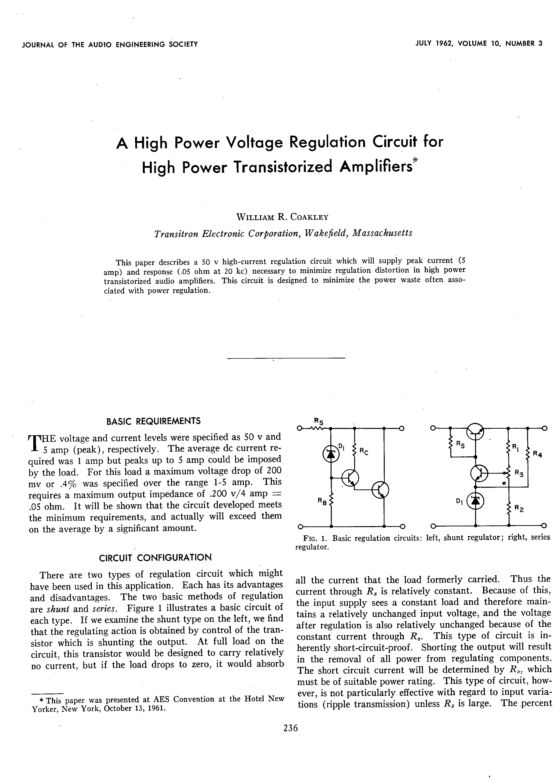 AES E-Library » A High Power Voltage Regulation Circuit for High