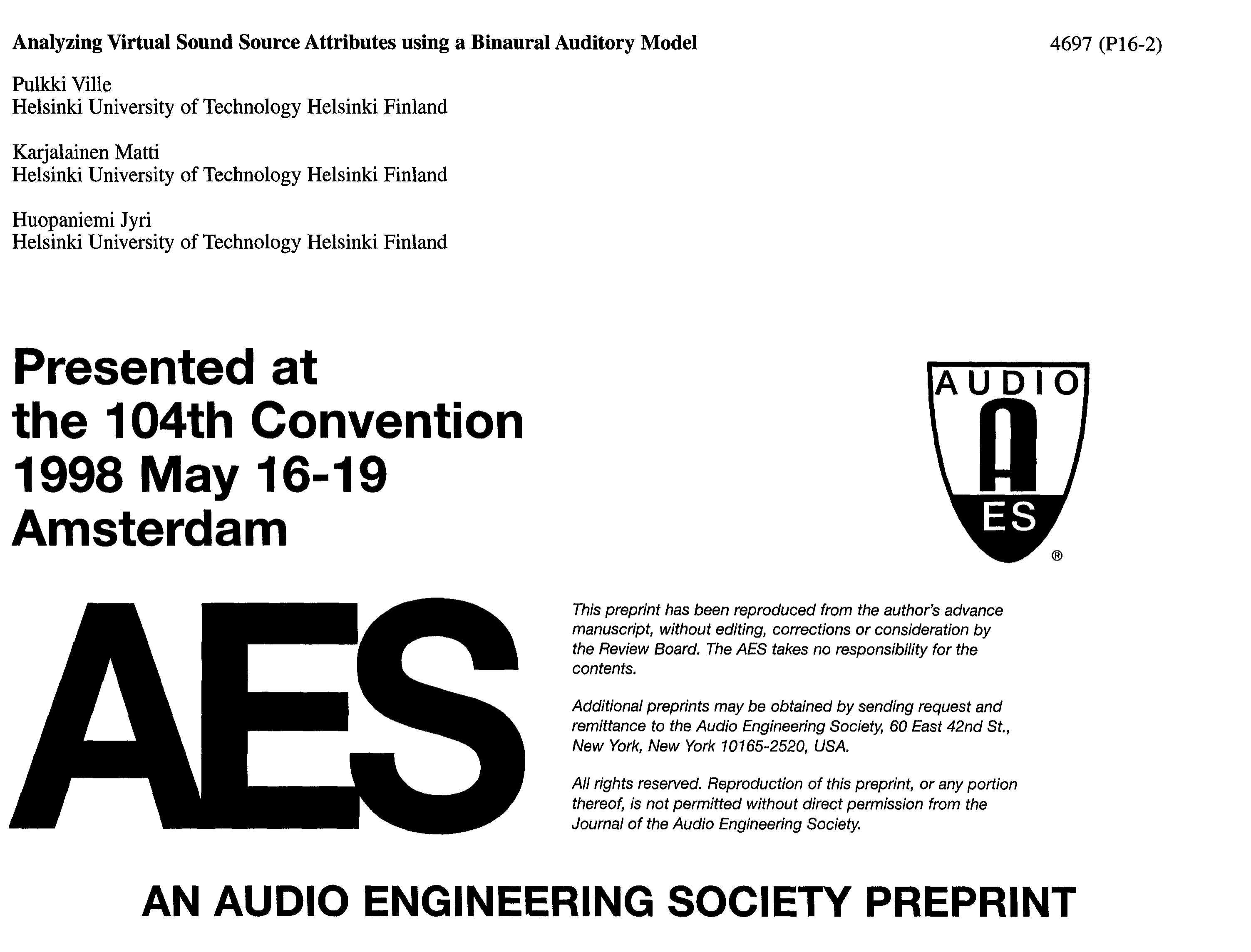 AES E-Library » Analyzing Virtual Sound Source Attributes