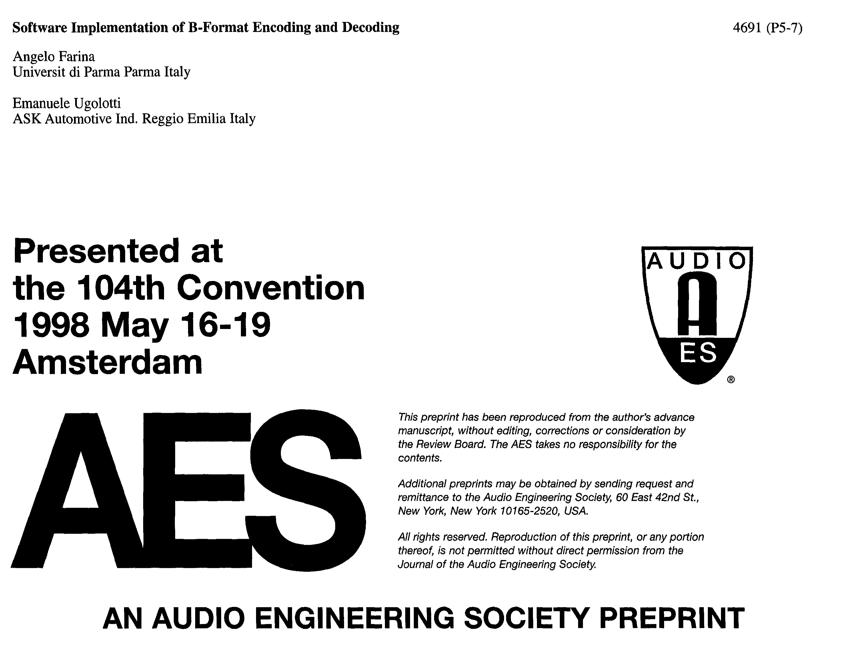 Aes E Library Software Implementation Of B Format Encoding And Background Music Decoder Decoding