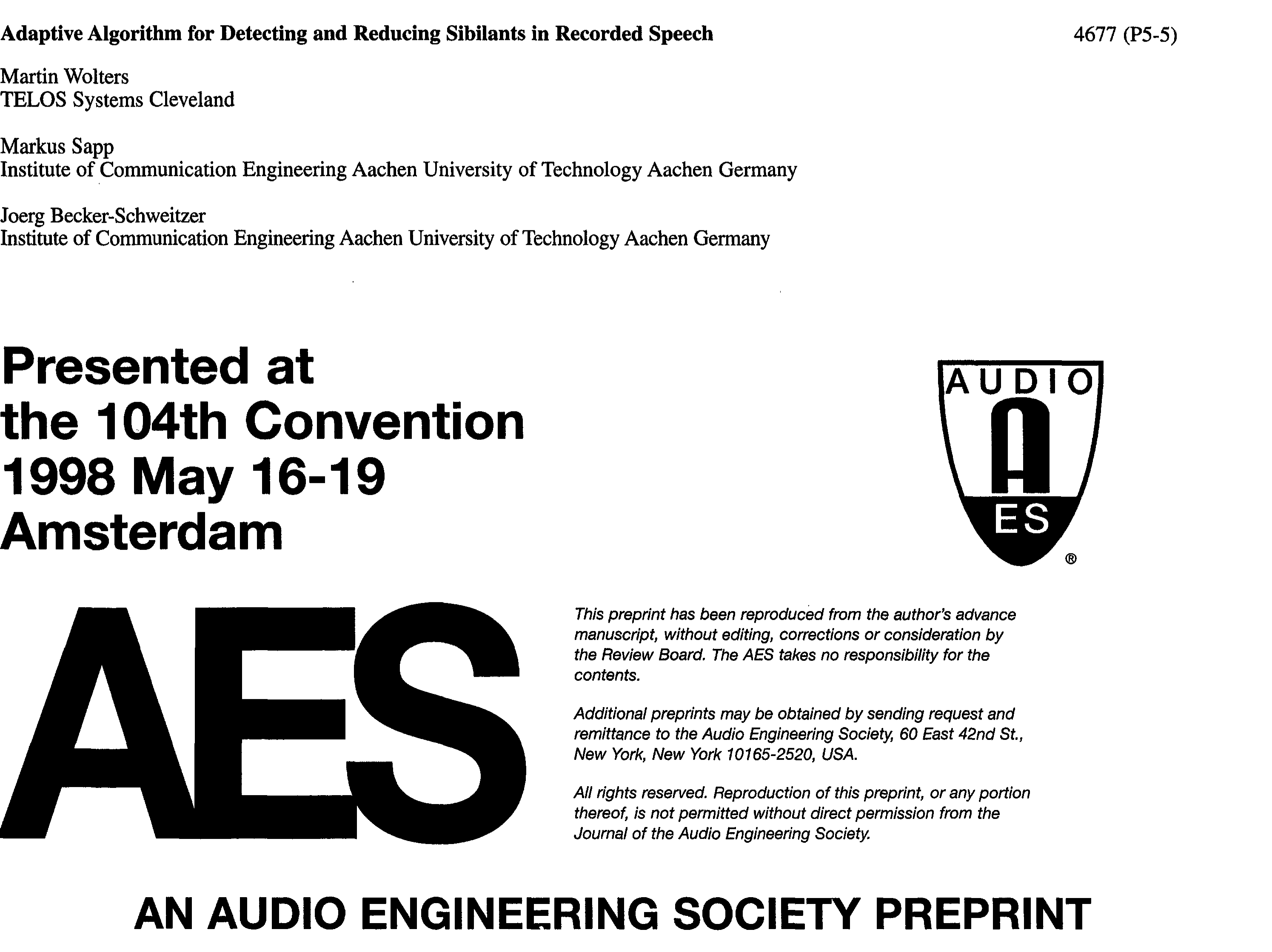 AES E-Library » Adaptive Algorithm for Detecting and