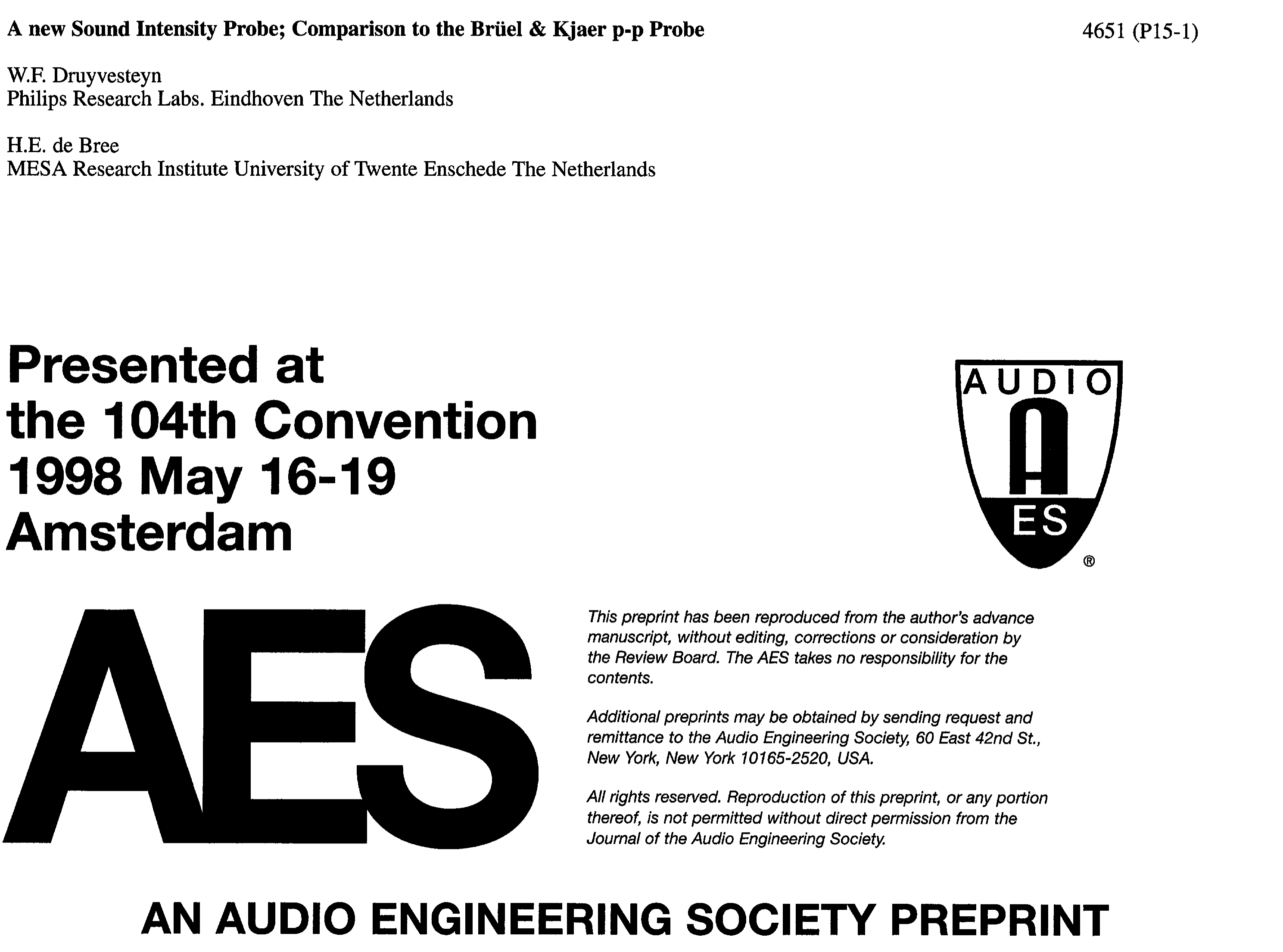 AES E-Library » A New Sound Intensity Probe: Comparison to