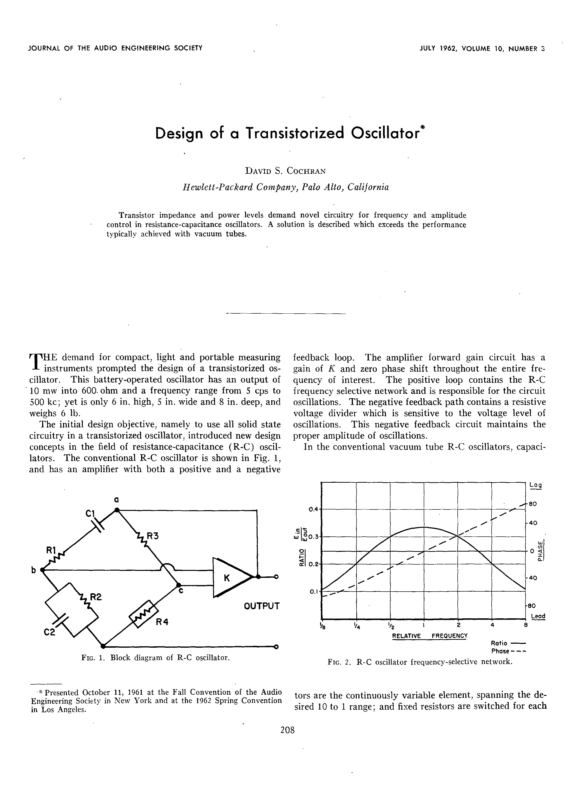 Aes E Library Design Of A Transistorized Oscillator Audio Signal Detector Switch Circuit Controlcircuit