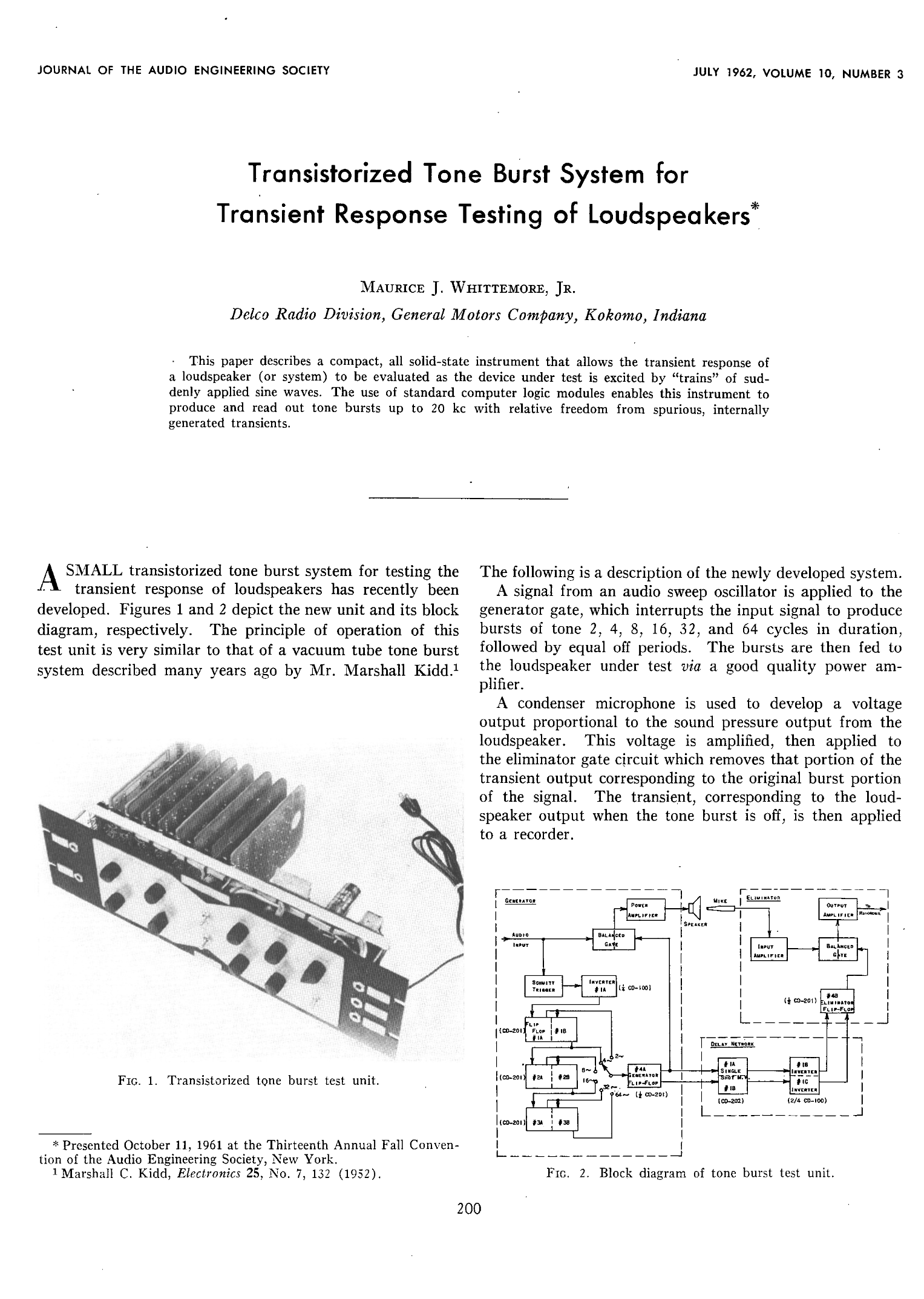 Aes E Library Transistorized Tone Burst System For Transient Z Wave Block Diagram Response Testing Of Loudspeakers