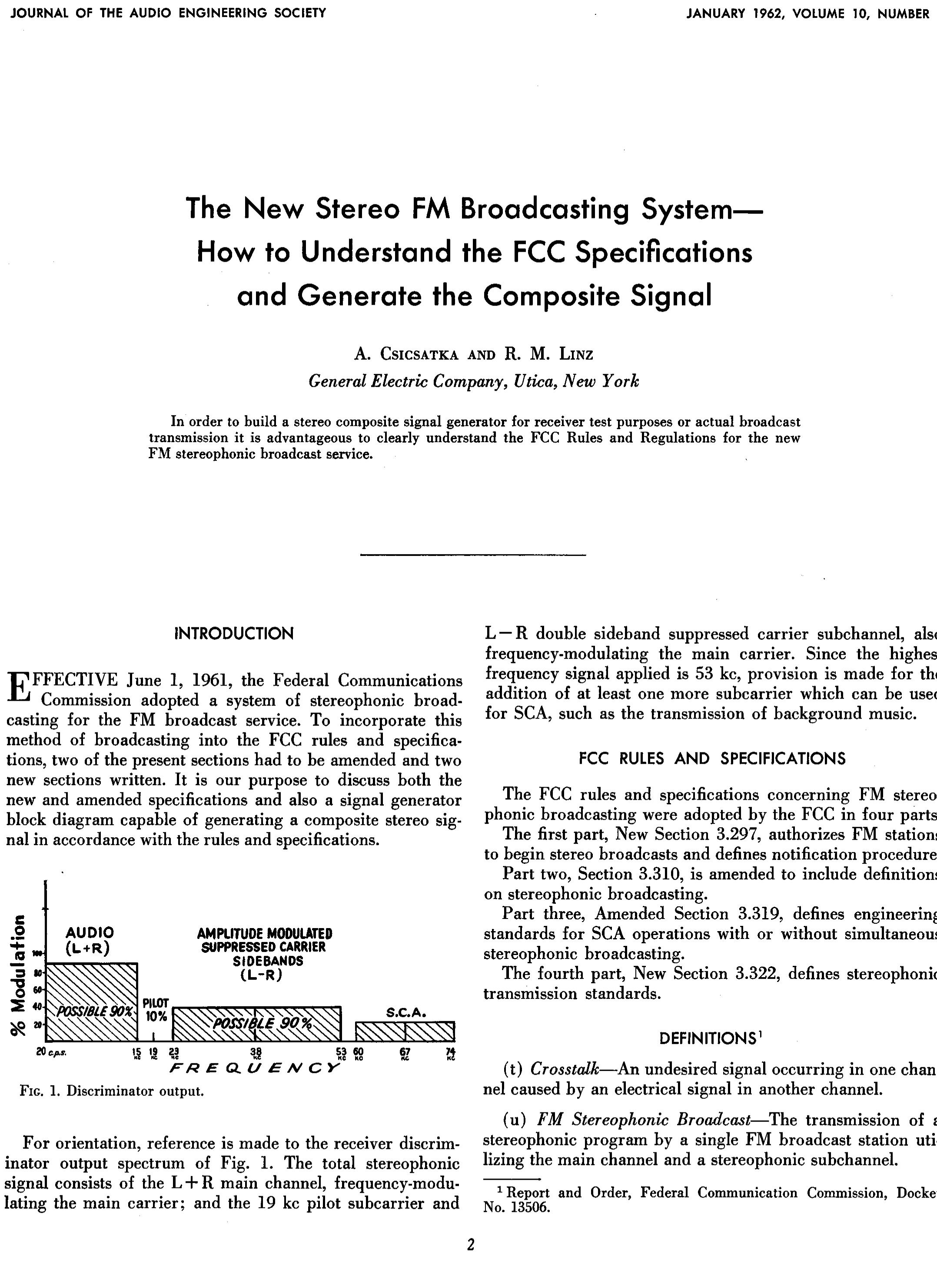 Aes E Library The New Stereo Fm Broadcasting System How To Broadcast Receiver Understand Fcc Specifications And Generate Composite Signal