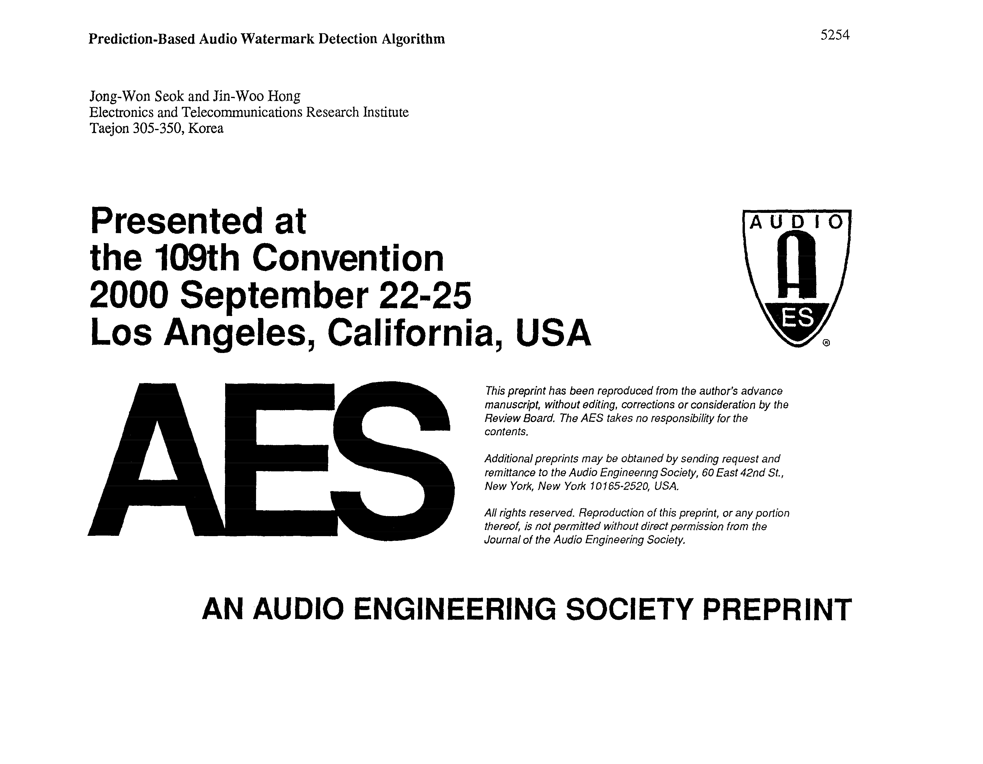 AES E-Library » Prediction-Based Audio Watermark Detection