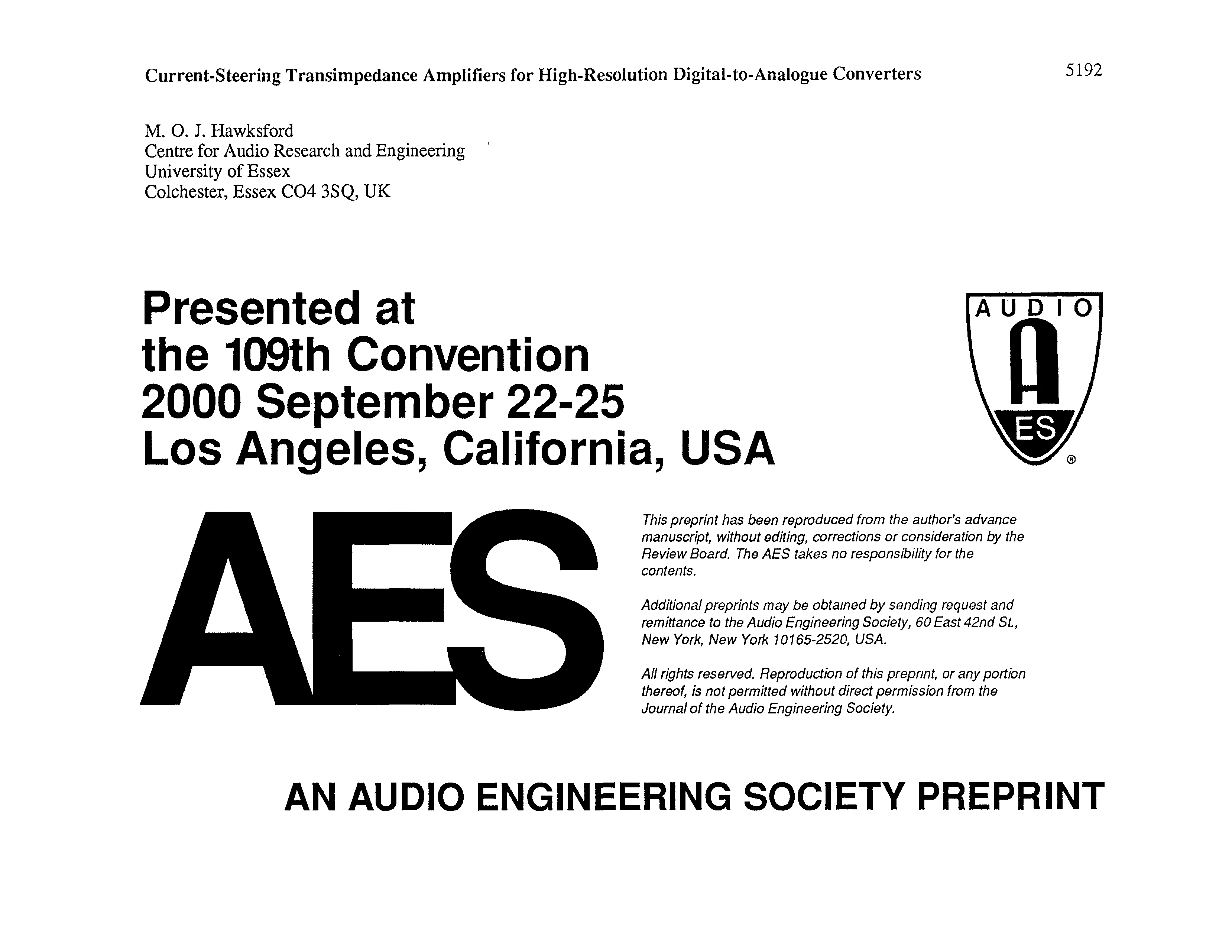 Aes E Library Current Steering Transimpedance Amplifiers For High Proposed Amplifier Schematic Resolution Digital To Analogue Converters