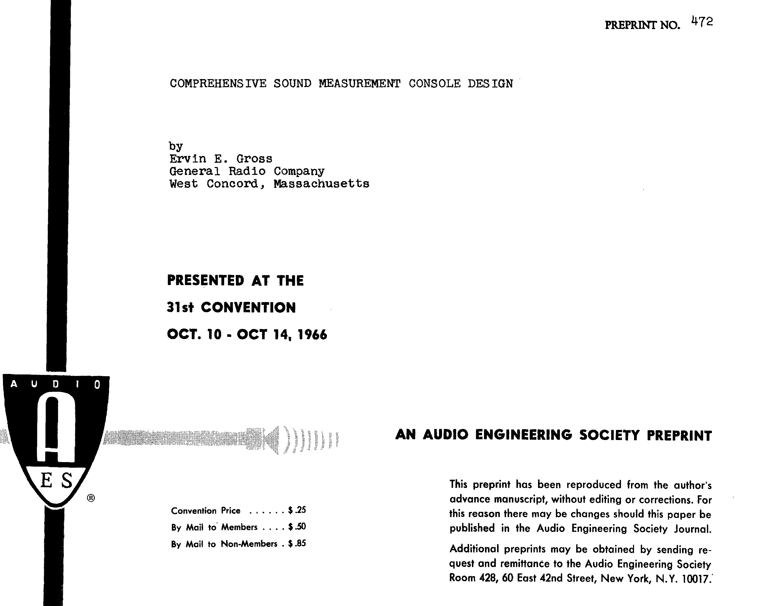 Aes E Library Comprehensive Sound Measurement Console Design Schematic For Level Meter
