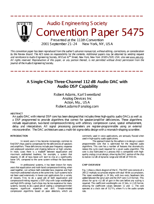 AES E-Library » A Single-Chip Three-Channel 112 dB Audio DAC