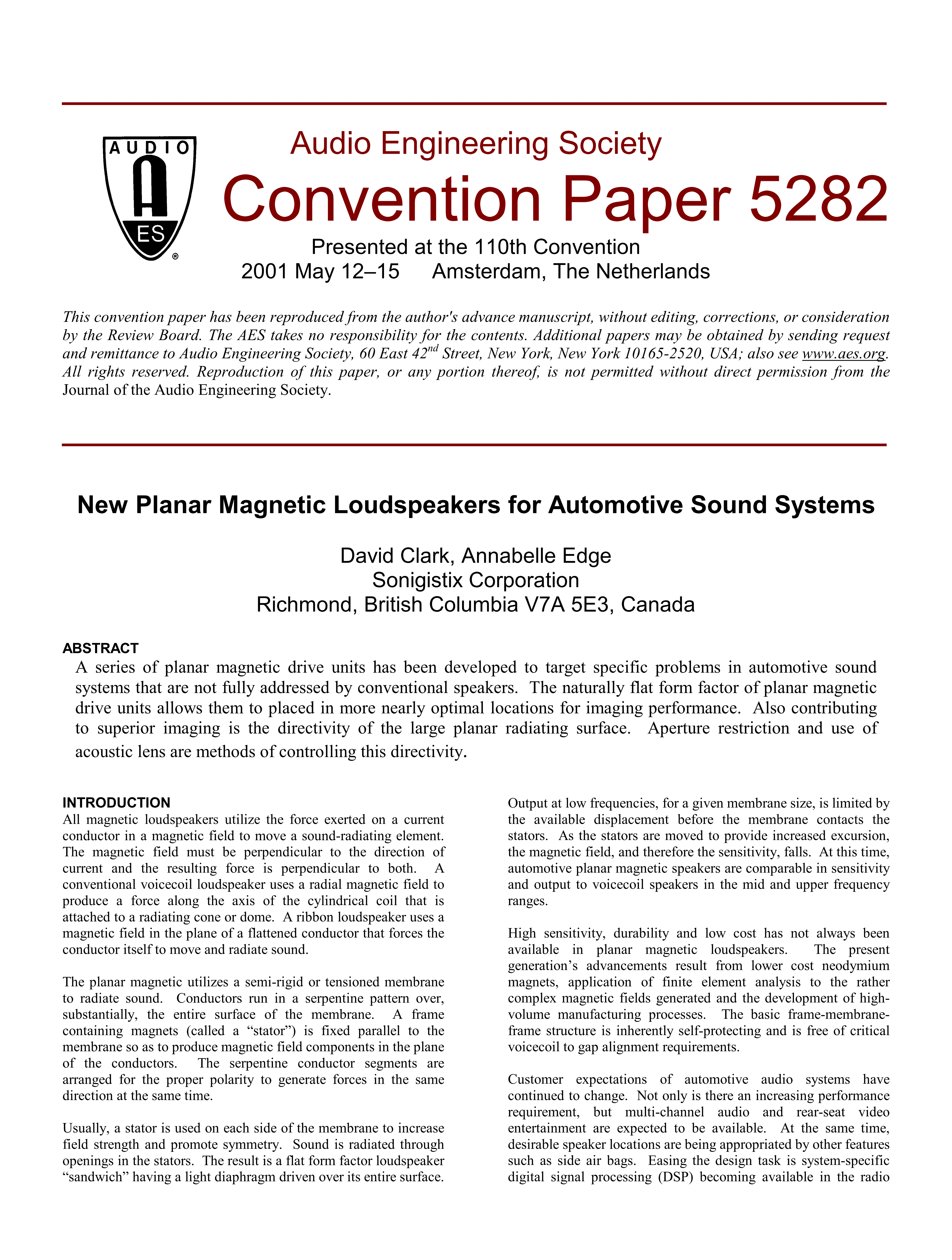 AES E-Library » New Planar Magnetic Loudspeakers for