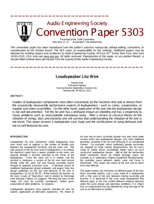 AES E-Library » Loudspeaker Litz Wire